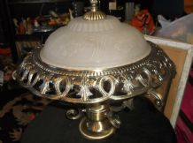 UNUSUAL ORNATE TABLE LAMP GOLD TONE + FROSTED GLASS SHADE 3 BULBS NEEDS WIRING